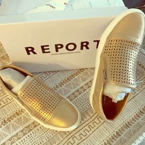 Rose Gold Leather Slip On Sneakers